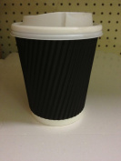 Deli Supplies 100 x Ripple Black Kraft Insulated 240ml Cup Coffee Tea Disposable Cups - delisupplies©