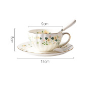 Small flower bone china coffee cup dish suit afternoon cup / ceramic tea cup,180ml coffee cup spoon