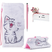 For Sony Xperia XA Flip Wallet Leather Case,For Sony Xperia XA Cute Pattern Design Case,SKYXD Smile Cat Painted PU Leather Flip Fold with Card Holder Magnetic Closure Protective Case for Sony Xperia XA