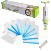 Himanjie MOYEAH Sous Vide Bags Pump Clips Kit, Vacuum Sealer with 10 Vacuum Bags, Hand Pump, Vacuum Sealer Kit, BPA Free, PA and PE, White and Green