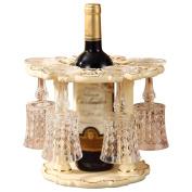 LC European Ceramic Wine Rack Wine Glass Holder Living Room Decoration Storage 1 Bottle +6 Wine Glasses