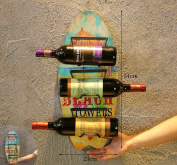 Hanging Red Wine Rack Retro Home Restaurant Wall Pendant Wall Pendant Creative Bar Wall Decoration , Skateboard E