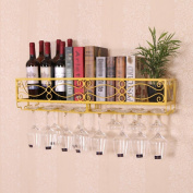 Hanging European Wine Shelf Hung Creative Iron Red Wine Frame Hung Glass Shelf Upside Down Goblet Home , Yellow