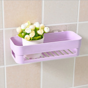 Prevently Brand New Creative Bright Colour Useful Plastic Suction Cup Bathroom Kitchen Corner Storage Rack Organiser Shower Shelf