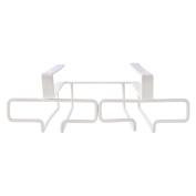 LC European Wrought Iron Glass Rack Household Items Bar White