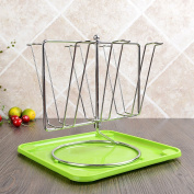 LC European Stainless Steel Cup Holder Drain Cup Rack Glass Holder Household Items 6 Cups