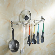 Angker Stainless Steel Kitchen Hanging Rack, Multi-Function Hanging Rod, Kitchen Shelf, Wall Mounted Hanging Rail Rack For Kitchen Utensil,Utensil Rack with 6 Adjustable Hooks - for Bathroom & Kitch