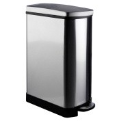 Protege Rectangle Pedal Bin, Stainless Steel / Mirror Finish, 35 Litre / Soft Close
