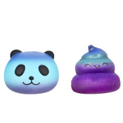 Slow Rising Squishies Mingfa 2 PCS Galaxy Panda Poo Baby Cream Scented Stress Reliever Squeeze Decompression Toys for Kids Adults ADD ADHD Autism
