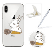 Clear TPU Case for iPhone X,Soft Gel Rubber Case for iPhone X,Herzzer Premium Stylish Rabbit Carrot Printed Slim Fit Flexible Silicone Transparent Bumper Back Cover