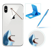 Clear TPU Case for iPhone X,Soft Gel Rubber Case for iPhone X,Herzzer Premium Stylish Atrocious Shark Printed Slim Fit Flexible Silicone Transparent Bumper Back Cover