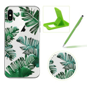 Clear TPU Case for iPhone X,Soft Gel Rubber Case for iPhone X,Herzzer Premium Stylish Banana Leaves Printed Slim Fit Flexible Silicone Transparent Bumper Back Cover