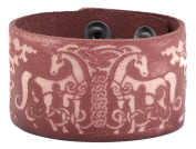 Wicca Handmade Double Deer Amulet Nordic Talisman Leather Wristband Cuff Bracelet DIY with Snap Fasteners