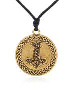Thor's Hammer Religious Pendant Necklaces with Arrow Knot Pattern Wicca Necklaces Amulet Jewellery