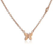 "Shy By Sydney Evan Sterling Silver Rose Gold Plated ""Butterfly"" Necklace with Diamond Bezel of 41.275cm"