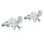 Hanana Tennis Racque Racket Cufflinks for Men Shirt,Stainless Steel,Christmas Gift