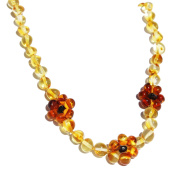 Baltic Amber Necklace Lemon Flowers, Stunning Amber Jewellery, beaded necklace