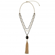 Adorning Ava Gold Layered Multi-Row Black Beaded Pendant Tassel Necklace