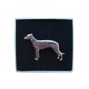 Fine Pewter Standing Whippet Brooch, Handcast By William Sturt