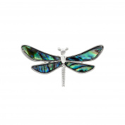 Natural Abalone Paua Shell Ornate Dragonfly Brooch in delicate blue/green