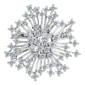 Clearine Women's Wedding Bridal CZ Cluster Winter Snowflake Brooch Pin