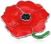 Jodie Rose Red Enamel Poppy Base Metal Brooch