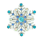 Pale Turquoise & AB Crystal Rhodium Plated Snowflake Design Brooch / Pin