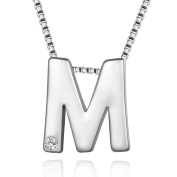 Murtoo Initial Letter Crystal Necklace with White Gold Plated And AAA zirconia Decorated Alphabet Letter Jewellery
