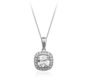 White Gold Plated Clear Cushion Square Elements Crystal Pendant Necklace Fashion Jewellery