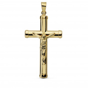 18k gold oval cross crucifix stick 32mm. smooth chatons [AA7285]