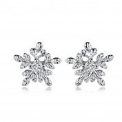 GULICX Winter Christmas Snowflake Girls Stud Earrings 925 Sterling Silver White Cubic Zirconia