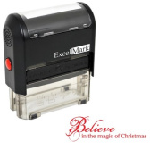 Self-Inking Christmas Rubber Stamp - Believe in the Magic of Christmas - Red Ink
