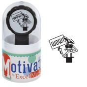 Motivations Pre-inked Teacher Stamp - Wow! (Rabbit in Magic Hat) - Black Ink