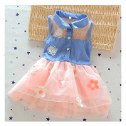 GOOTRADES Fashion Girl Baby Kid Clothes Lace Denim Shirt Tulle Princess Dress