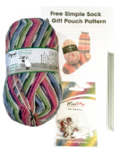 Opal 4ply Yarn Sock Knitting Kit - Wool, DPN's, Stitch Markers & Pattern Schafpate 7953 Sunny