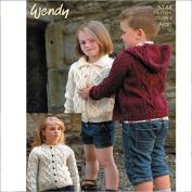 Wendy Childrens Cardigan & Hoodie Traditional Wool Knitting Pattern 5744 Aran
