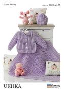UKHKA Baby Cardigans, Hat & Blanket Knitting Pattern No 138 DK - each