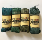 Nutscene Natural Raffia - Blues and Greens Mix - 4 assorted hanks of 50gm each