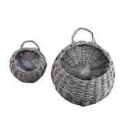 WINOMO 2PCS Straw and Willow Basket Wicker Flower Pots Flower Wall Hanging Flowerpot Hanging Basket Rustic Rattan Hanging Wall Basket