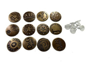Lucky Will 50 Pcs Vintage Metal Jeans Button Replacement with Track Button Diameter 2cm Pattern Random Shipping
