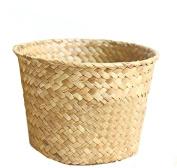 Retro Round Bone Harvest Collection Basket Basket Flower Basket Horizontal Living Room Decorative Weaving Blue Grass Collection Basket