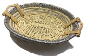 Real Wicker Weaved Gift Hamper Basket Round With Silver Detail - Perfect To Fill Yourself