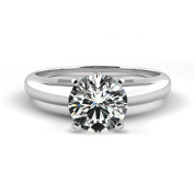0.24 Carat Weight Solitaire Diamond Engagement Ring - 14K White Solid Gold