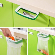 Vikenner Plastic Kitchen Cupboard Cabinet Tailgate Stand Durable Storage Garbage Bag Holder Practical Hanging Bags Trash Rack - Green