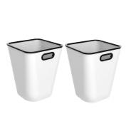 Paper Bin, Foxom 2Pcs Large Capacity Plastic Office Bin Waste Bin Wastebasket Trash Can Bedroom Waste Paper Bin