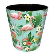 Bedroom Bin, Foxom PU Leather Flamingo Pattern Wastebasket Waste Paper Bin for Bedroom, Living Room, Kitchen, Office