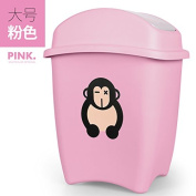Creative Trash Home Living Room Bedroom Lovely Small Children Cartoon Large Covered With Cover Plastic Waste Basket Case, Large Pink