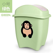 Creative Trash Home Living Room Bedroom Lovely Small Children Cartoon Large Covered With Cover Plastic Waste Basket Case, A Small Green