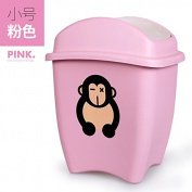 Creative Trash Home Living Room Bedroom Lovely Small Children Cartoon Large Covered With Cover Plastic Waste Basket Case, Small Pink