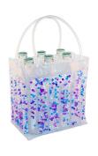 Zees Inc Pocket Bottles Cs8109 Beaded Freezable Wine Tote, Blue/Purple/Clear